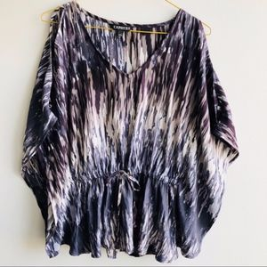 Express cold shoulder tie waist print blouse NWT
